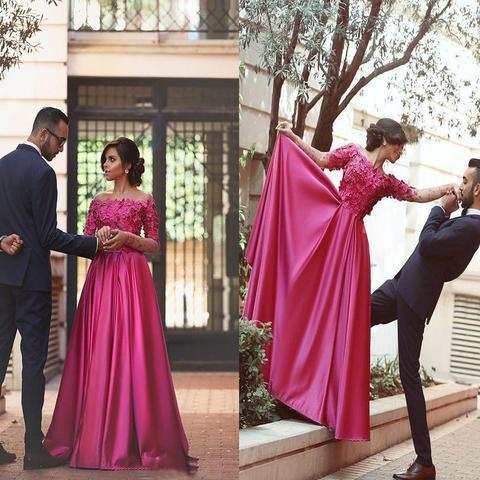 Appliques Long Sleeve Prom Dress, Elegant Evening Dress, Long Prom Dresses