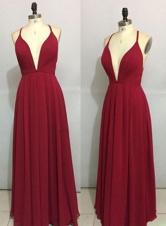 Simple burgundy chiffon long prom dress, backless evening dress