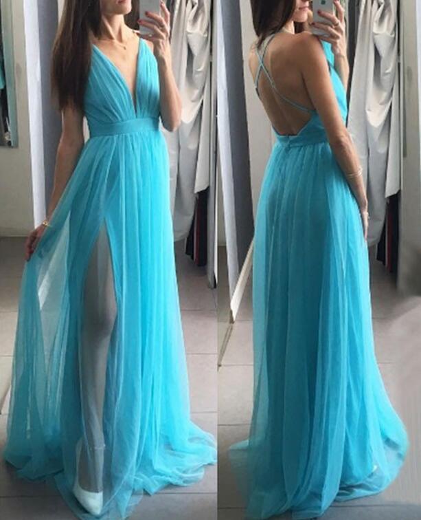 Blue Tulle Prom Dresses A-line Long Side Slit Evening Dress Deep V-neck Party