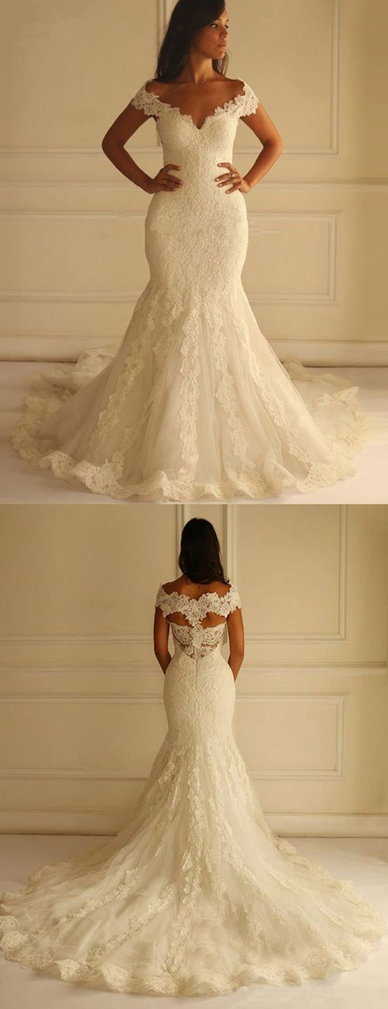 Elegant Off-the-Shoulder wedding dresses, Sleeveless Open Back sexy bride