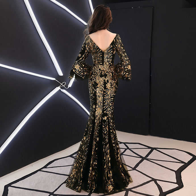 Gold Sequins Formal Evening Dress Gown with Sleeves Arabic Black Mermaid Brides