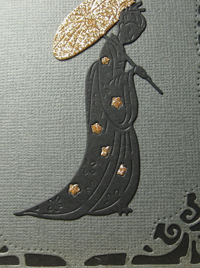 2pc Oriental Woman with Umbrella and Weeping Flowers