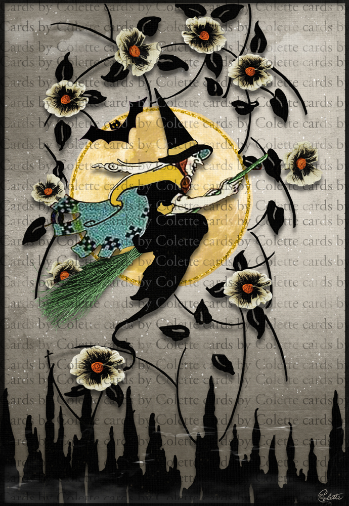 Halloween Witch Art Deco Greeting Card2035