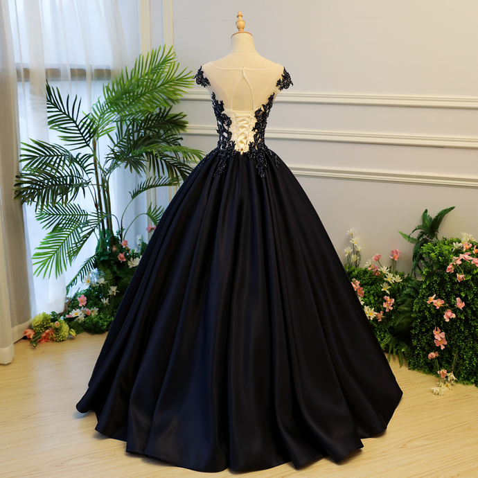 Dark Navy Blue Satin Long Sweet 16 Gown with Applique, Party Dress 2020