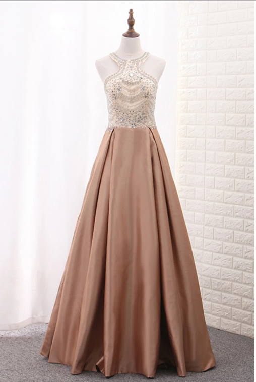 A Line Scoop Satin Prom Dresses With Beads Sweep Train,716