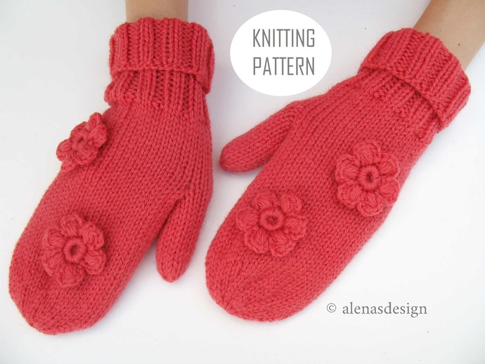 Flower Mittens Knitting Pattern 242 Simple Knit Mittens For All in seven sizes