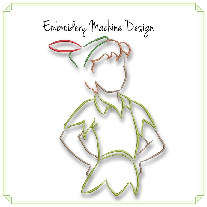 Peter Pan Sketch Embroidery Machine Design Disney Never Never Land Pes Pattern