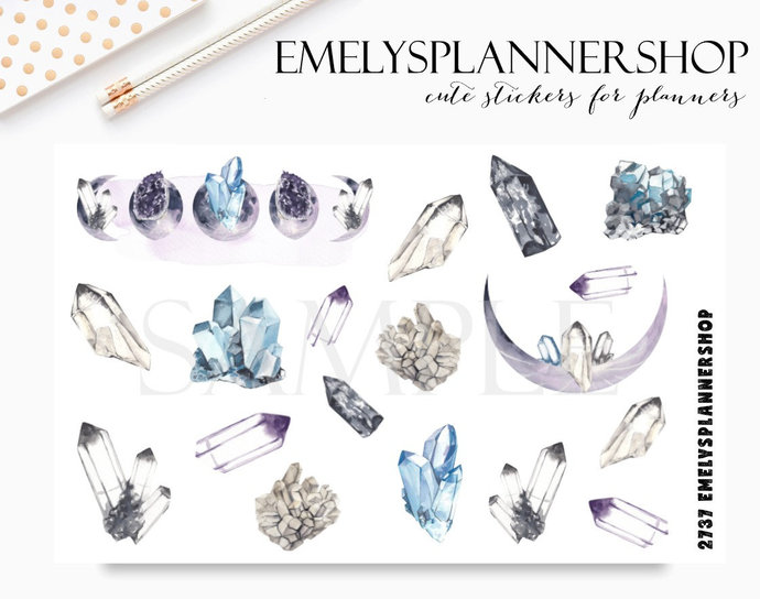 Planner Stickers Moon and Crystals - Watercolor Stickers - Bujo Sticker Set 2737