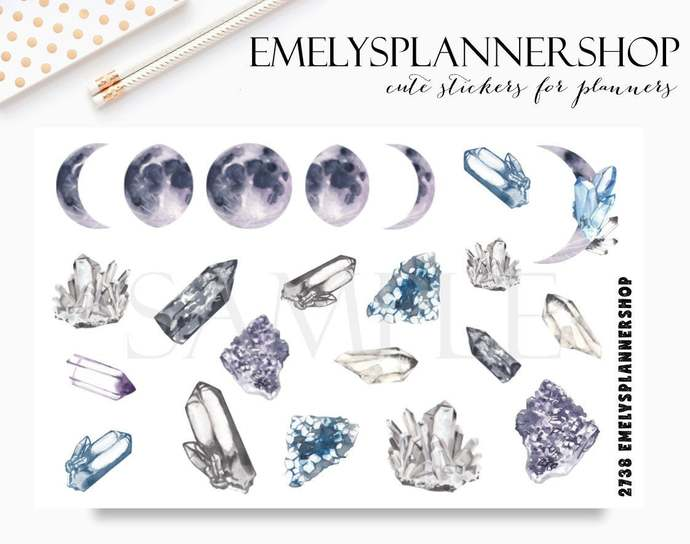 Moon and Crystals - Watercolor Stickers - Bujo Sticker Set 2738