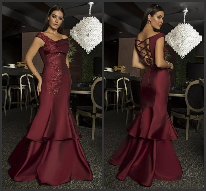 2020 Burgundy Sexy Cheap Prom Dresses long New Paolo Sebastian Special Occasion