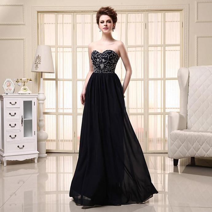 Prom Dress Strapless Diamante Beads Sequins Chiffon Sleeveless Lace-up Vestido