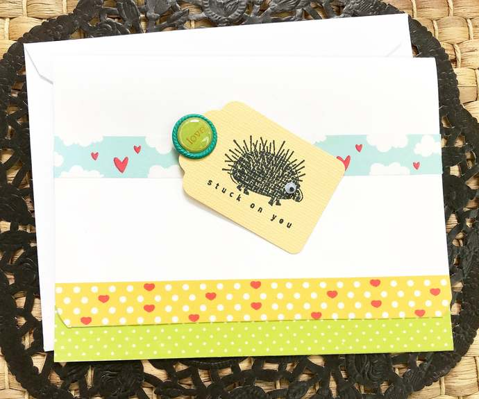 Stuck on You Porcupine Love Greeting, Note Card, Boyfriend, Girlfriend, Husband,