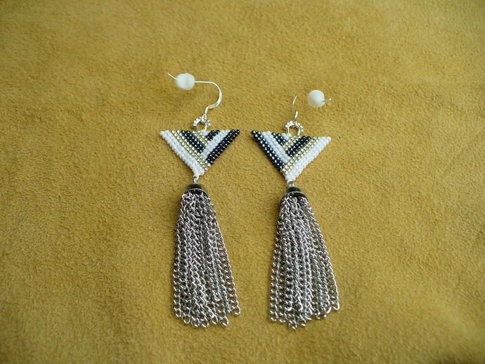 Brick Stitched Art Deco Earrings in White,Silver and Hematite with silver metal