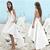 Cheap Sexy Modest White Summer Graduation Dresses 2019 A Line Beach Boho