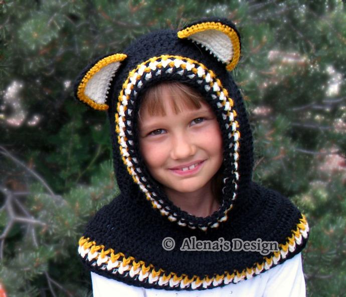 Hooded Cowl with Ears Crochet Cowl Pattern 139 Crochet Patterns Wolf Fox Cat