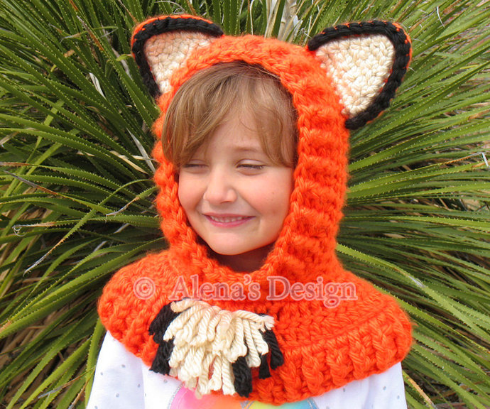 Hooded Cowl Crochet Pattern Bear Cat Fox Wolf Crochet Cowl with Ears Crochet