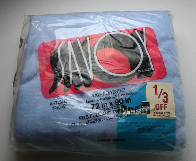 "Vintage Savoy Blue Full/ Twin Blanket 72"" x 90"" Overedge Stitch Wards USA in"