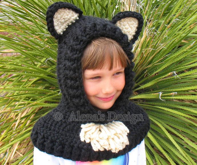Crochet Cowl with Ears Animals Hat Crochet Pattern 120 Bear Cat Fox Wolf Hooded
