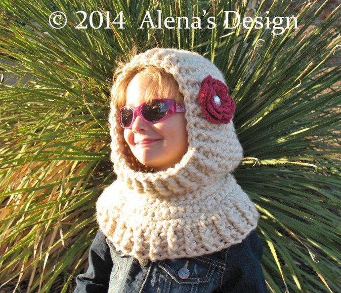 Crochet Pattern 113 Crochet Cowl Pattern with Flower Hooded Cowl Crochet Hood