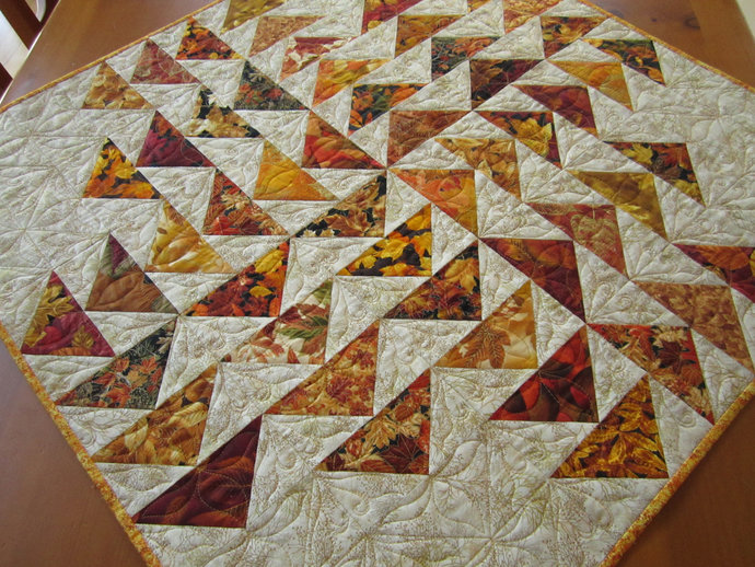 Table Topper Handmade Fall Square Autumn Leaves Tabletop Quilted