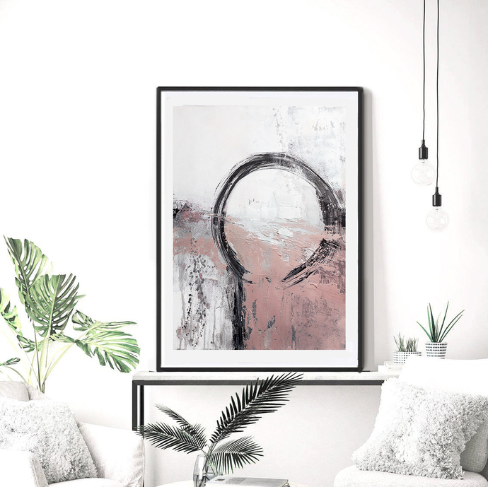 Black and Peach Prints, Minimalist Art, Large Art, Scandinavian Modern Art ,