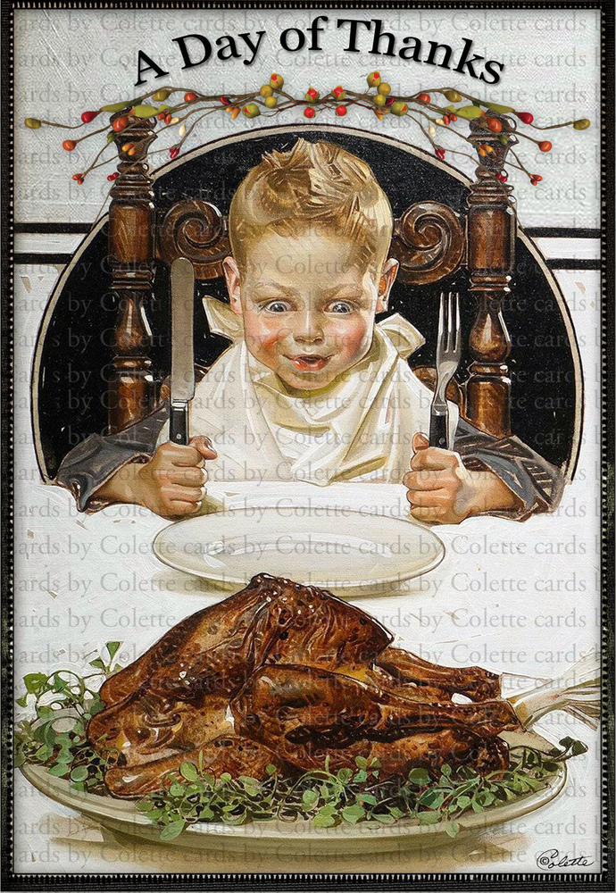 Thanksgiving Day of Thanks Digital Collage Greeting Card2460