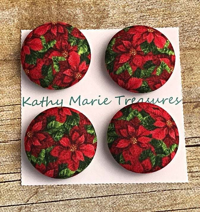 Christmas Poinsettia cloth magnets, fabric, holiday magnet, holiday gift,