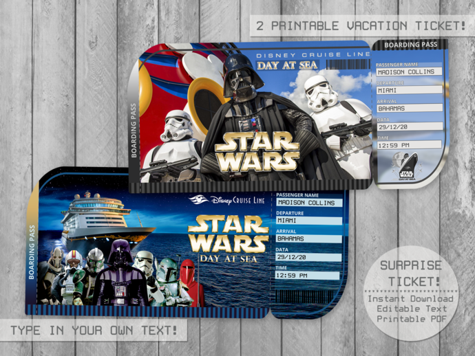 Space Hero Day at Sea, Surprise Trip Ticket, Editable File, Boarding Pass,