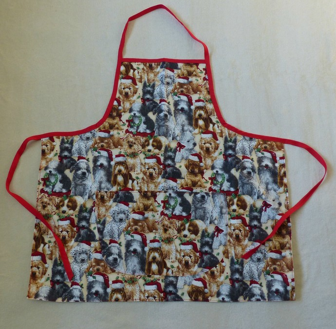 Holiday puppies reversible apron, full apron, apron for women, pull over apron,