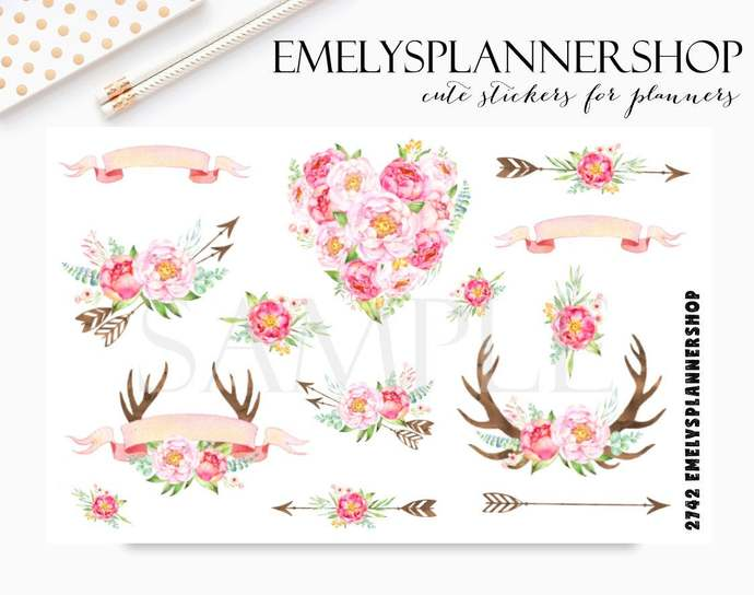 Peony and Roses - Watercolor Sticker - Boho Planner Stickers 2742
