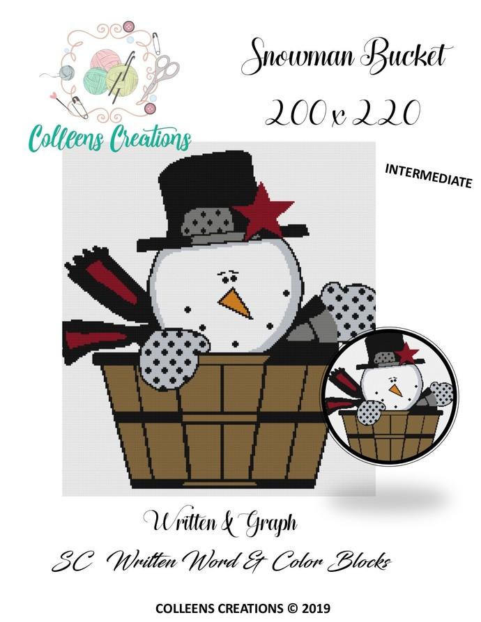 Snowman Bucket Crochet Written Word & Graph Design