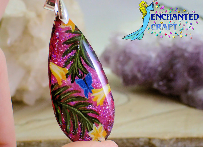 Amazing handpainted Tropical Flower garden with butterfly wood pendant resin