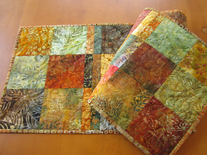 Table Runner Fall Quilted Handmade Table Quilt  Autumn Colors