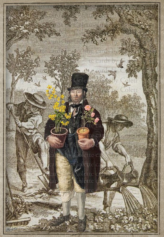 Vintage Garden Man and Gardeners Greeting Card2164
