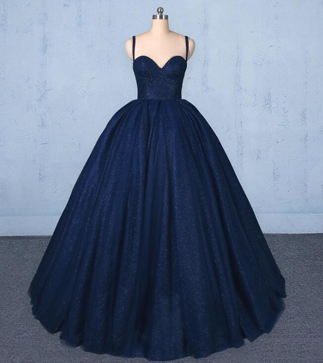 Navy Blue Ball Gown Sweet 16 Dress, Straps Formal Gowns