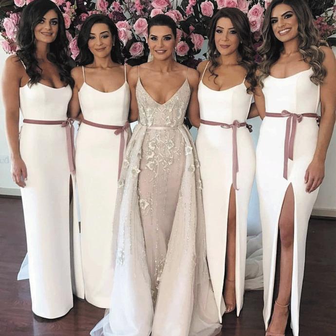 ivory mermaid bridesmaid dresses for weddings 2020 elegant spaghetti straps
