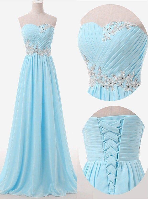 Beautiful Blue Chiffon Sweetheart Long Party Dress, A-line Formal Dress