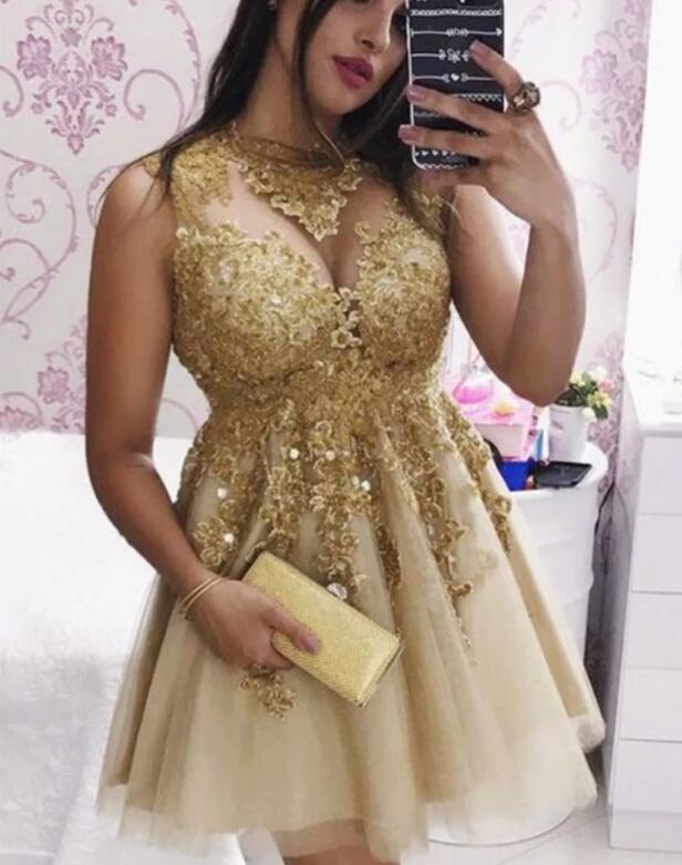 Cute Champagne Lace Appliques Short Prom Dresses, Short Evening Dresses
