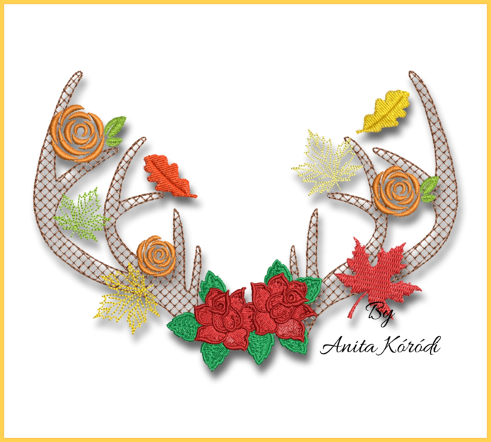 Autumn antlers Embroidery Machine Designs Fall Deer Flowers digital instant