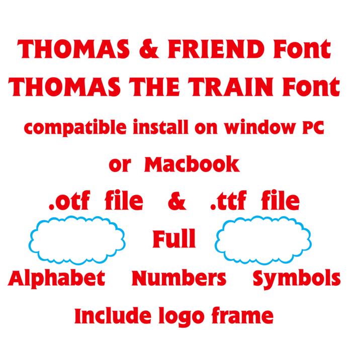 Thomas the train font file ttf otf font true type font installable on PC Mac