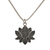 925 Sterling Silver Pave Black Spinel Lotus Flower Semi Precious Pendant