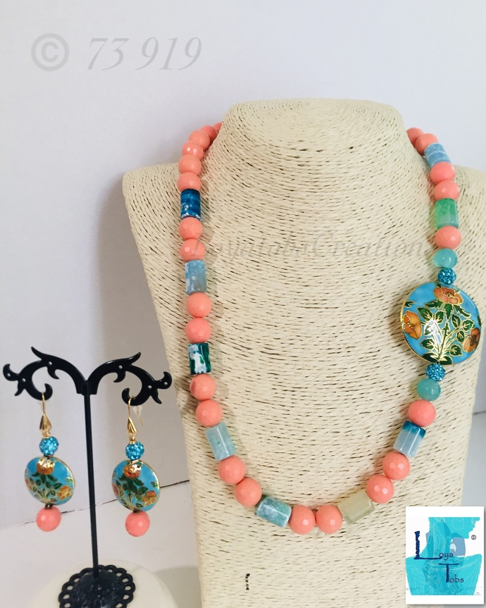 22 inch Peach Stone and Dragon Veins Agate Necklace and Earring Set
