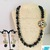 Black Onyx and Agate Necklace and Earring Set