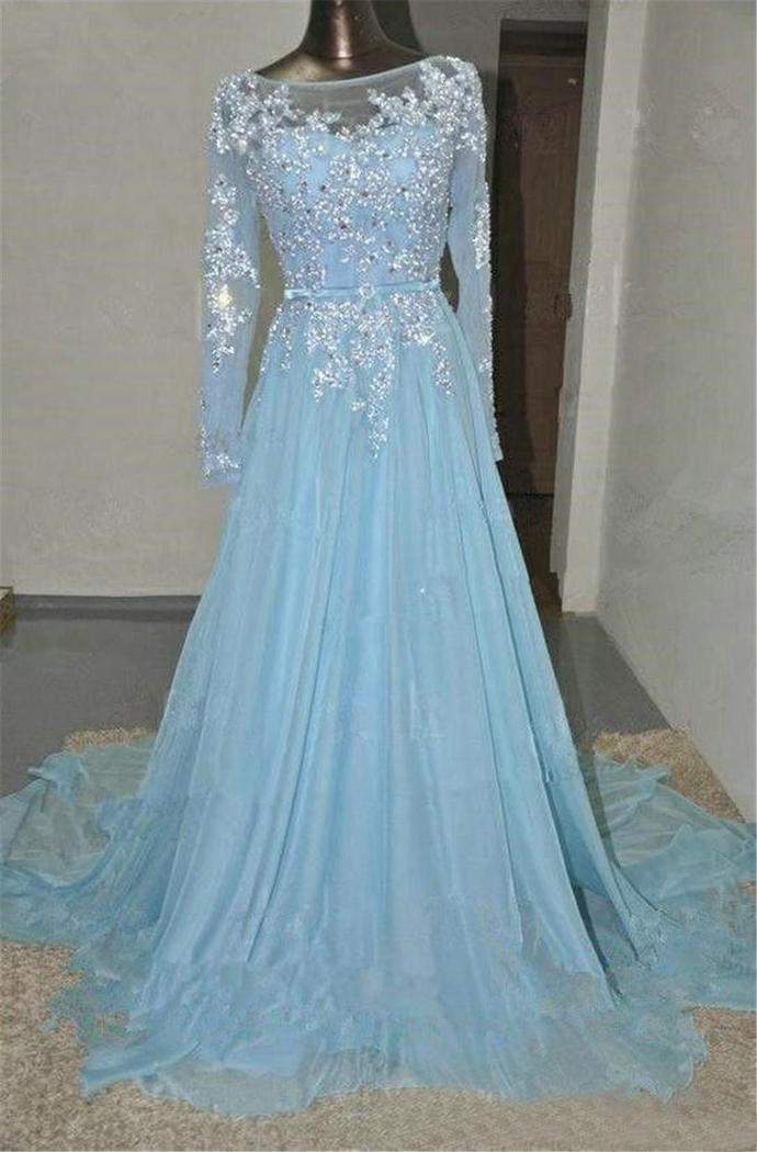 Light Blue Crystals Beads A Line Prom Dress Lace Applique Sequin Chiffon Long