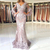 Sexy V Neck Lace Mermaid Long Prom Dresses 2019 Long Sleeves Tulle Applique