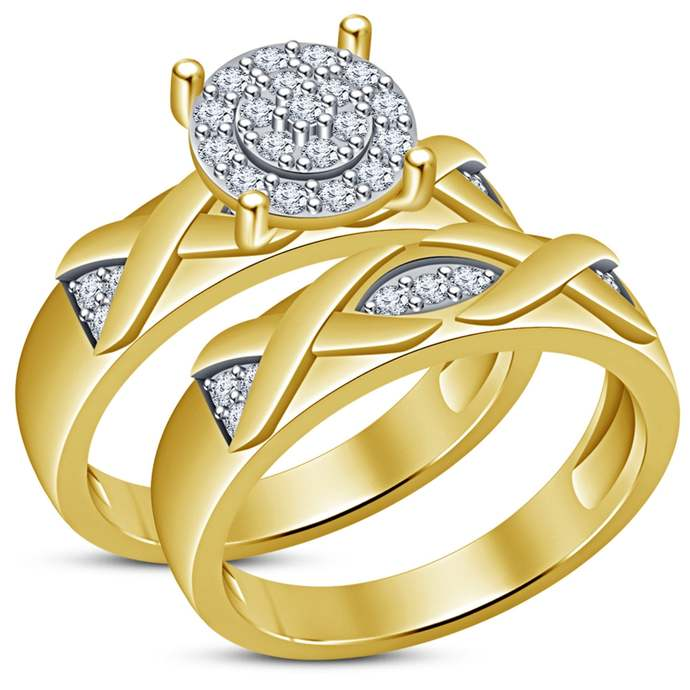 Braided Wedding Set, Celtic Bridal Set, 18K Gold Finish Diamonds engagement