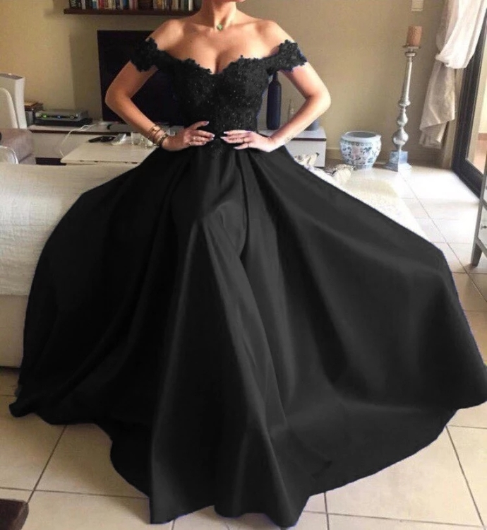 Off the Shoulder Black Evening Gowns Pageant Dresses Custom