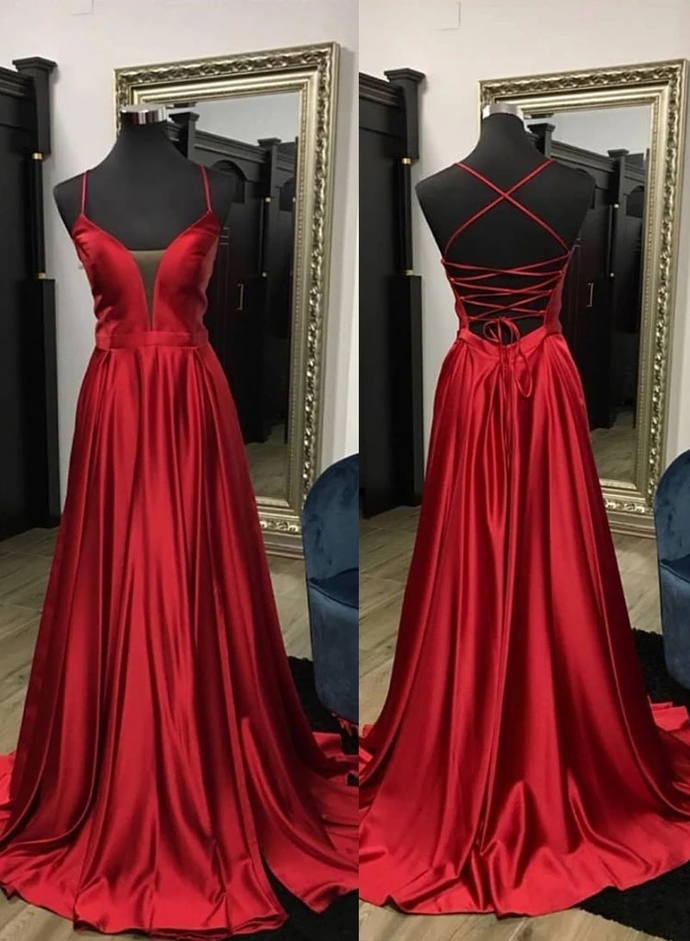 Simple Burgundy V Neck Satin Prom Dress with Lace Up Back A line Evening Dress
