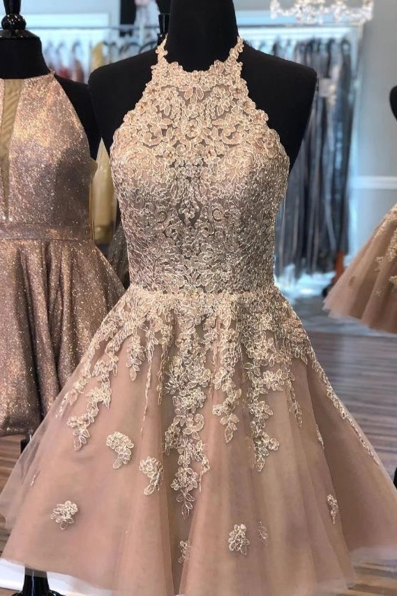 Cute Champagne Halter Lace Homecoming Dress Short Prom Dress