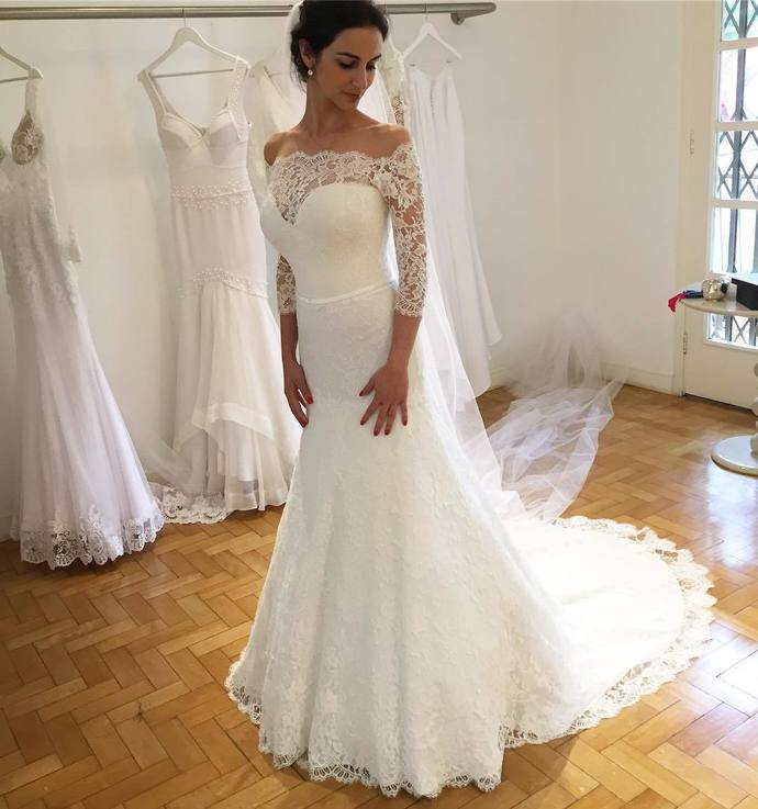 Elegant Lace Long Sleeve Mermaid Wedding Dresses, Sexy White Off the Shoulder